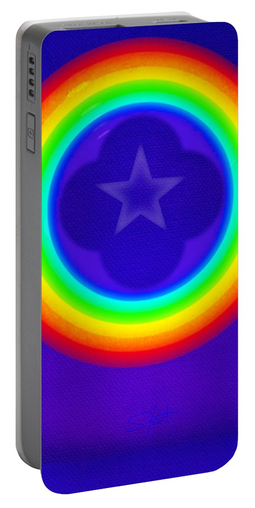 Abstract Portable Battery Charger featuring the painting Deep Blue See by Charles Stuart