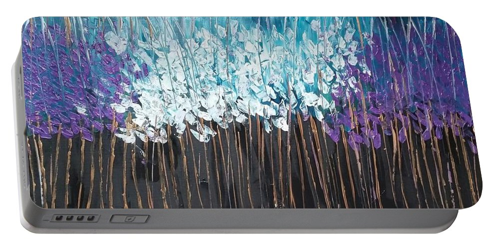 Abstract Portable Battery Charger featuring the painting Deep Forest by Tayyaba Hafeez