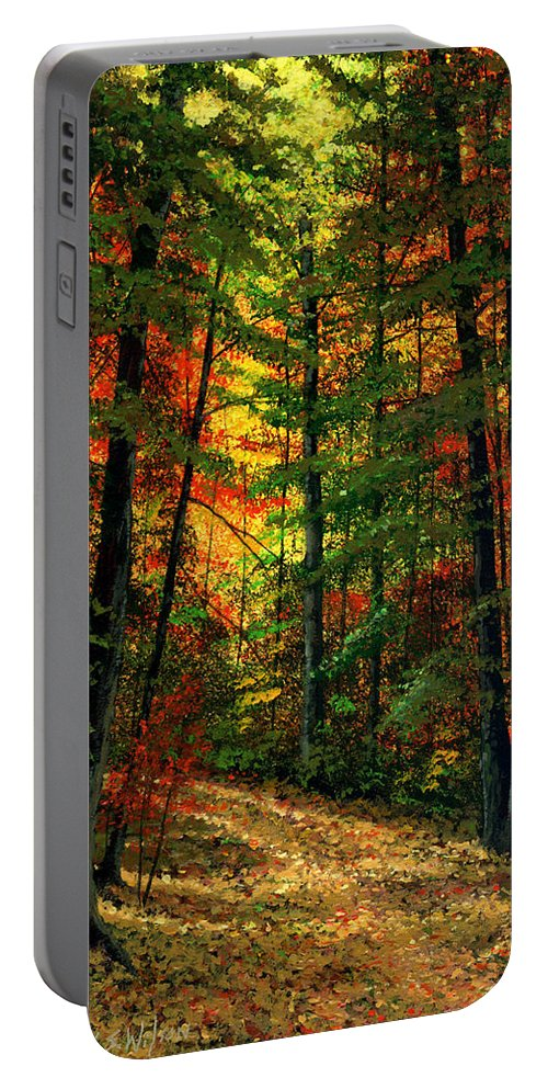 Landscape Portable Battery Charger featuring the painting Deep In The Forest by Frank Wilson