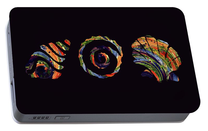 Abstract Portable Battery Charger featuring the digital art Deep Sea Shell Trio by Deborah Smith