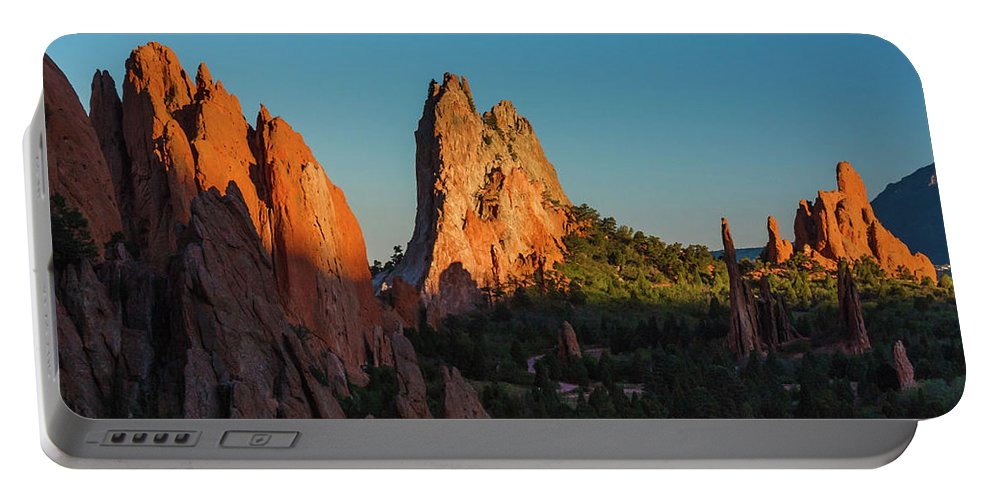 Colorado Portable Battery Charger featuring the photograph Deep Sunset At Garden Of The Gods by Lon Dittrick