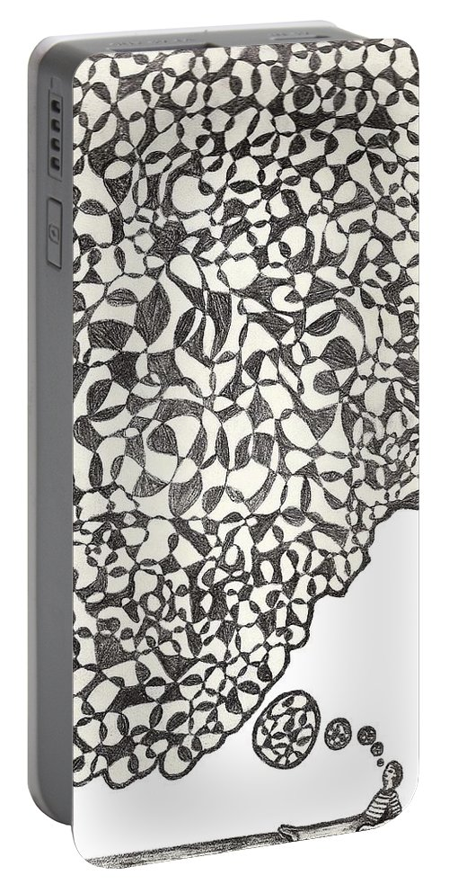 Abstract Portable Battery Charger featuring the drawing Deep Thoughts by Jean Haynes