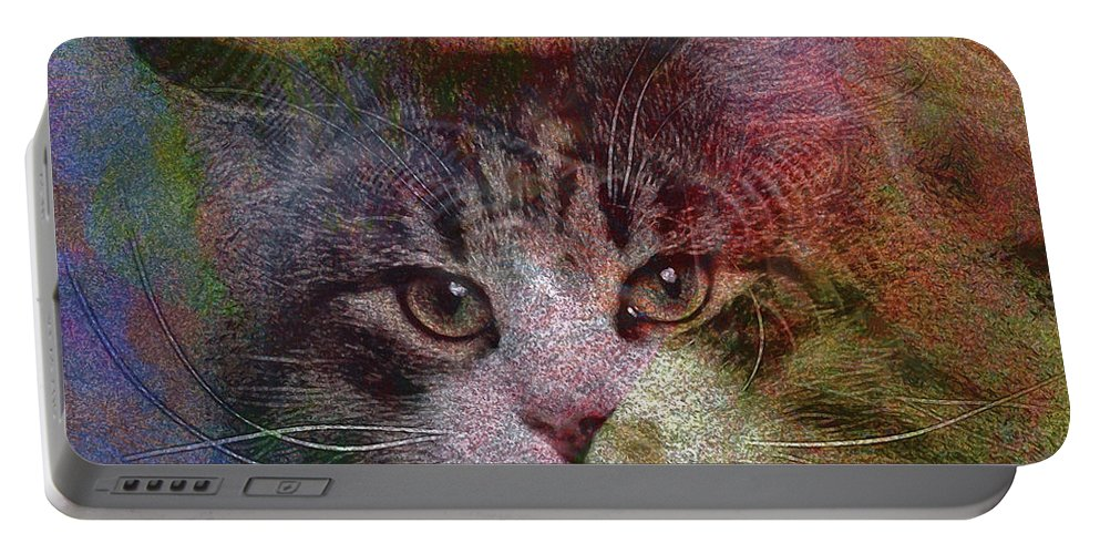 Cat Portable Battery Charger featuring the digital art Deep Thoughts - Square Version by John Beck