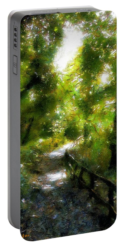 Fence Portable Battery Charger featuring the painting Deeper Into The Greenwood by RC DeWinter