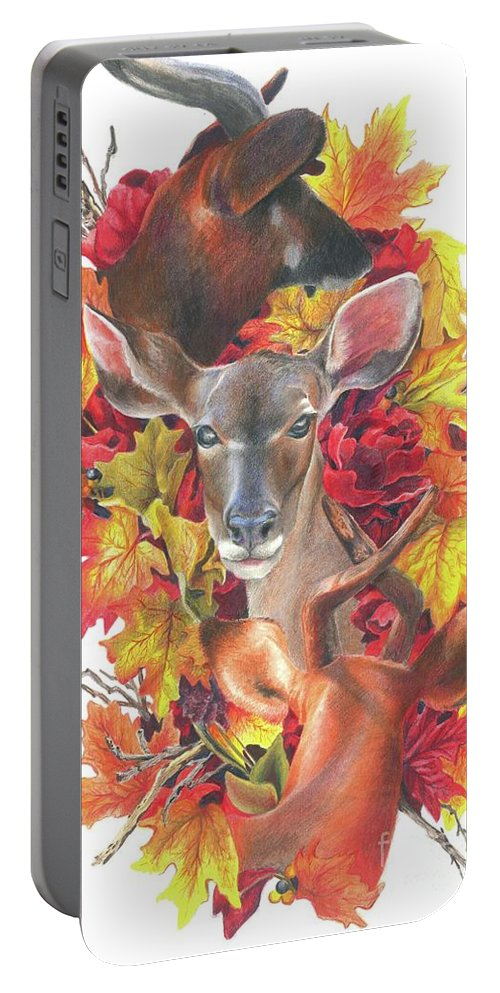 Deer Art Portable Battery Charger featuring the drawing Deer And Fall Leaves by Sonja Funnell