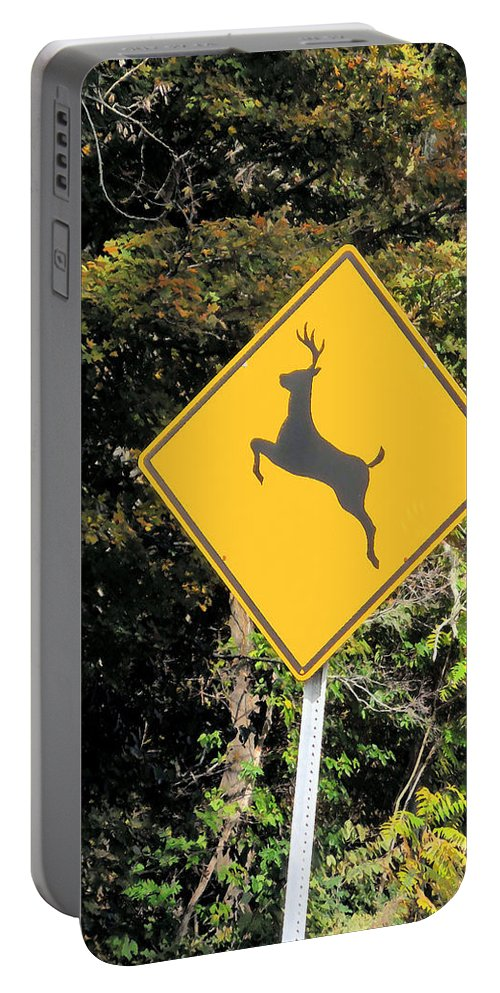 Deer Crossing Sign Portable Battery Charger featuring the painting Deer Crossing Sign 2 by Jeelan Clark
