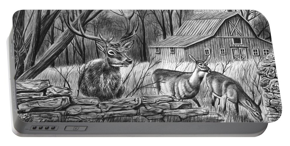 Deer Field Portable Battery Charger featuring the drawing Deer Field by Peter Piatt