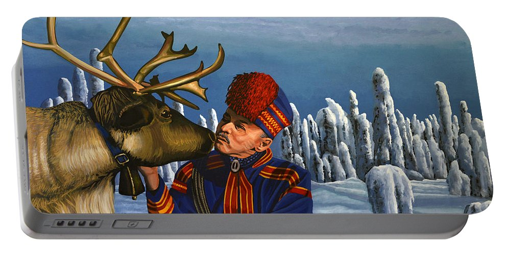 Finland Portable Battery Charger featuring the painting Deer Friends Of Finland by Paul Meijering