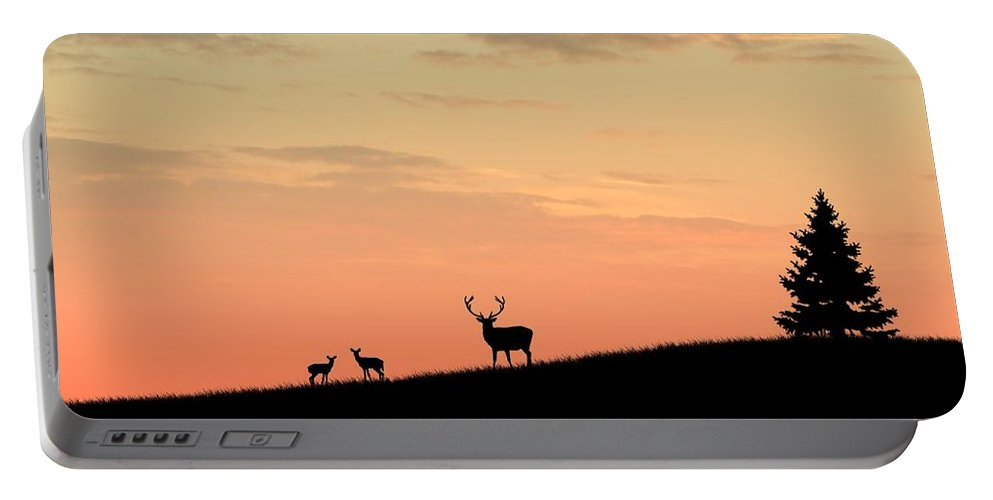 Animals Portable Battery Charger featuring the digital art Deer In Silhouette by John Wills