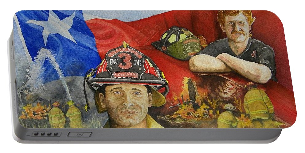 Firemen Portable Battery Charger featuring the painting Defending Texas by Gale Cochran-Smith