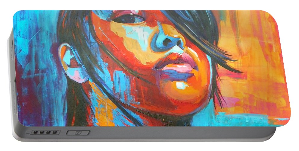 Art Portable Battery Charger featuring the painting Defiance by Angie Wright