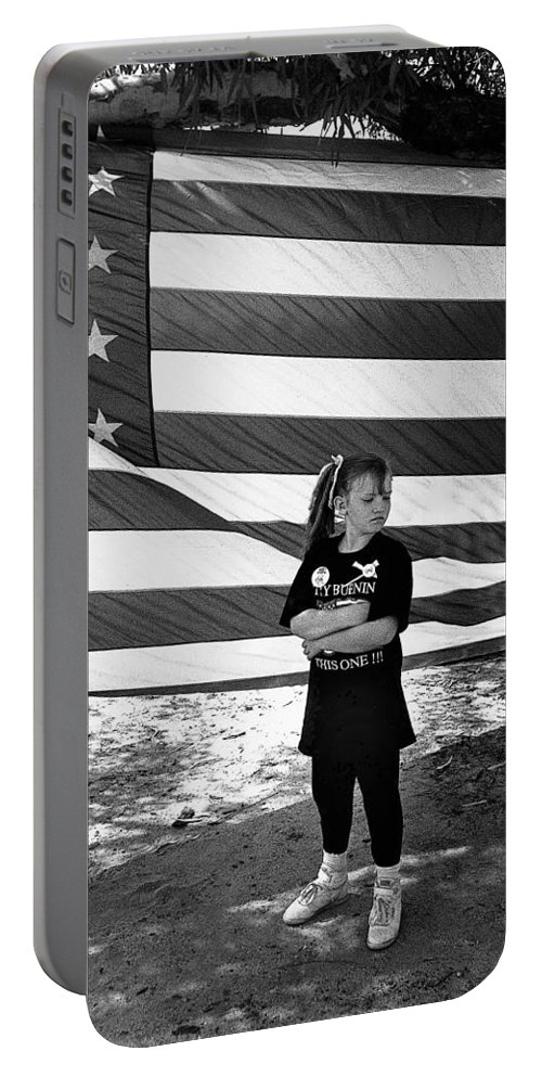 Defiant Girl Desert Storm Troops Welcome Home Celebration Ft. Lowell Tucson Arizona 1991 Portable Battery Charger featuring the photograph Defiant Girl Desert Storm Troops Welcome Home Celebration Ft. Lowell Tucson Arizona 1991 by David Lee Guss