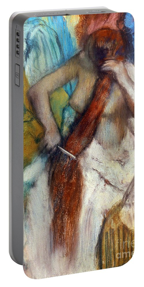 19th Century Portable Battery Charger featuring the photograph Degas:combing Hair,1887-90 by Granger