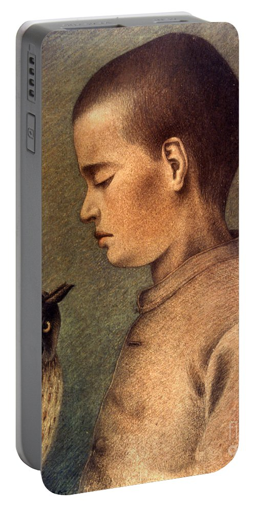 1892 Portable Battery Charger featuring the photograph Degouve: Child & Owl, 1892 by Granger