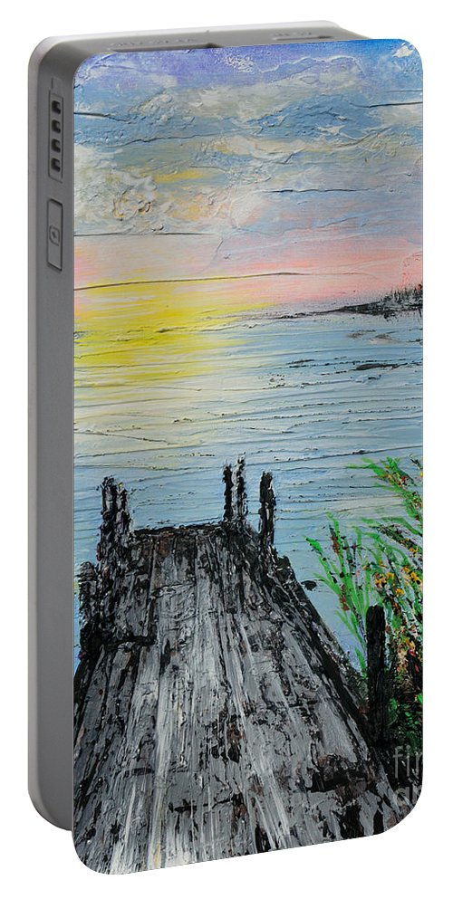 Meditation Portable Battery Charger featuring the painting Deja Vu by Alys Caviness-Gober