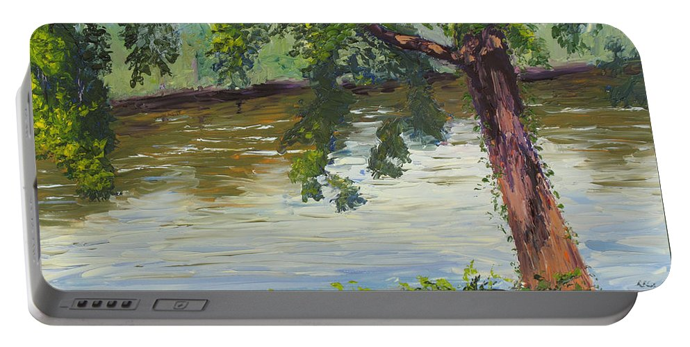 Landscape Portable Battery Charger featuring the painting Delaware River At Washington's Crossing by Lea Novak