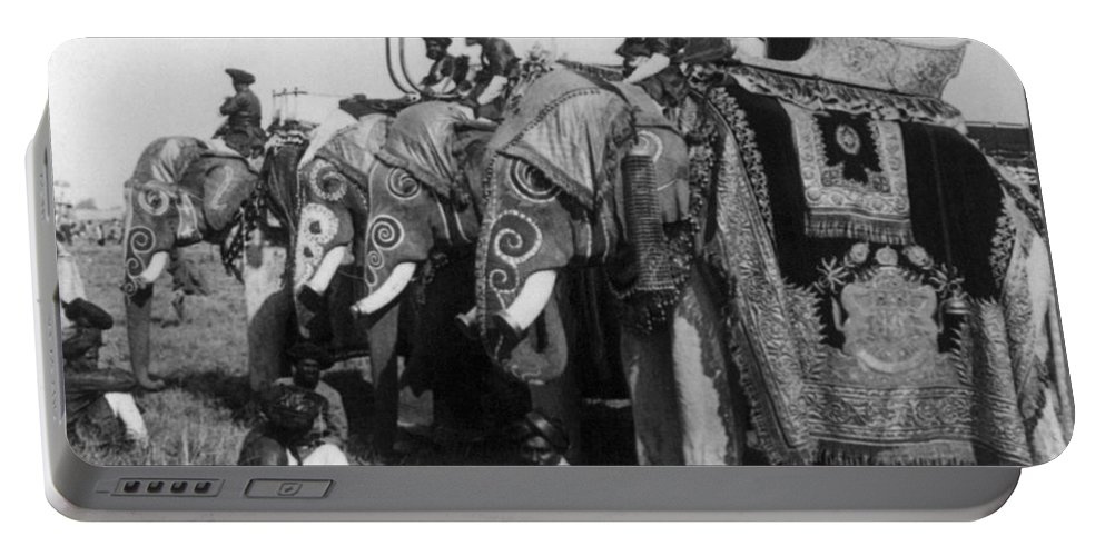Asian Portable Battery Charger featuring the photograph Delhi: Elephants by Granger