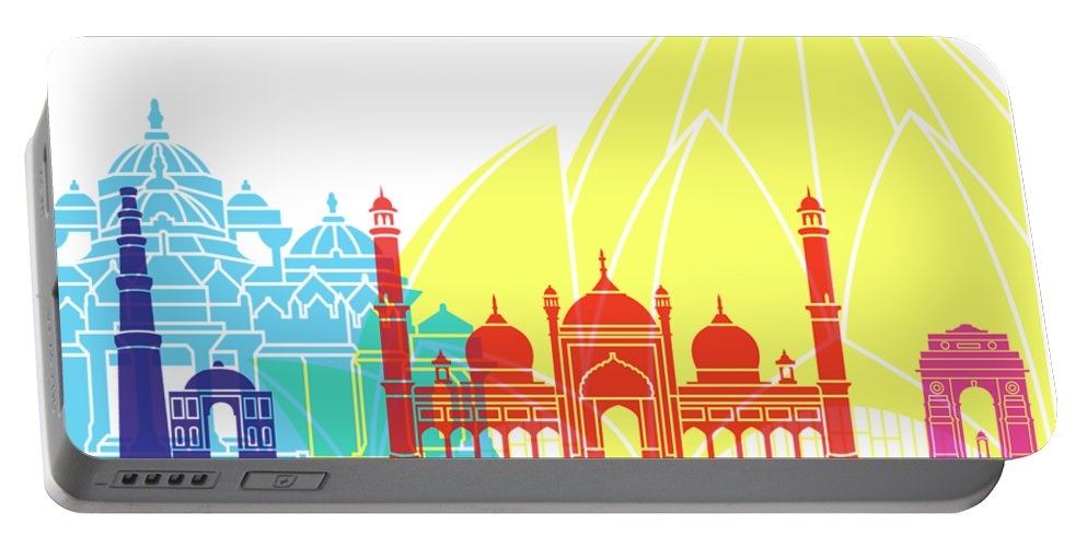 Delhy Portable Battery Charger featuring the painting Delhy Skyline Pop by Pablo Romero