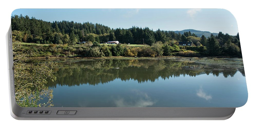 Pond Portable Battery Charger featuring the photograph Delicate Clouds Reflected by Tom Cochran