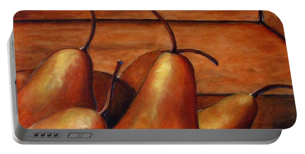 Pears Portable Battery Charger featuring the painting Delicious Pears by Richard T Pranke