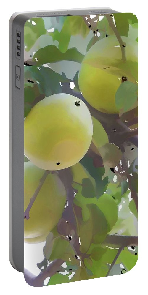 Apple Orchard Portable Battery Charger featuring the painting Delicious Yellow Apple In Summer by Jeelan Clark
