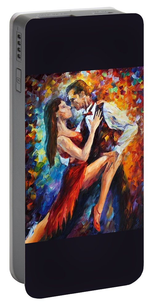 Afremov Portable Battery Charger featuring the painting Delightful Tango by Leonid Afremov