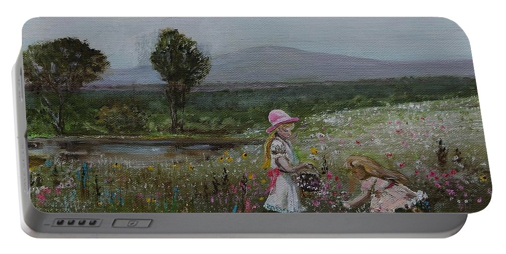 Impressionist Portable Battery Charger featuring the painting Delights Of Spring - Lmj by Ruth Kamenev