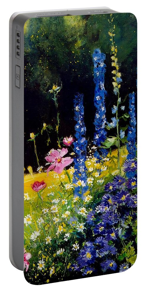Poppies Portable Battery Charger featuring the painting Delphiniums by Pol Ledent