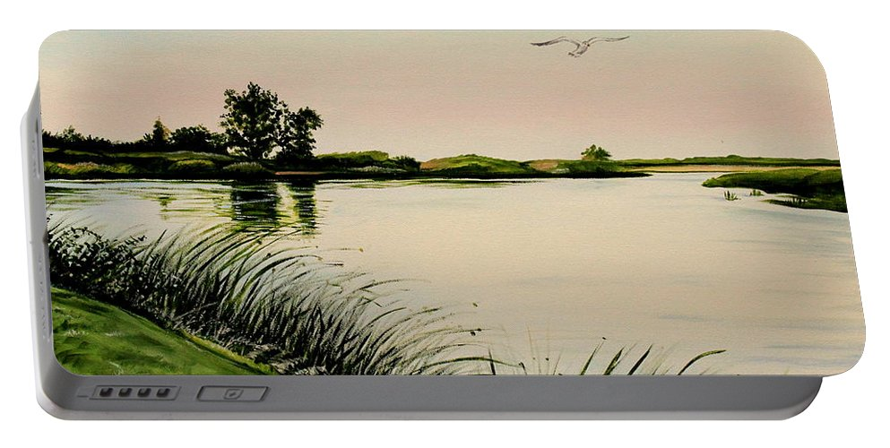 Landscape Portable Battery Charger featuring the painting Delta At Dusk by Elizabeth Robinette Tyndall
