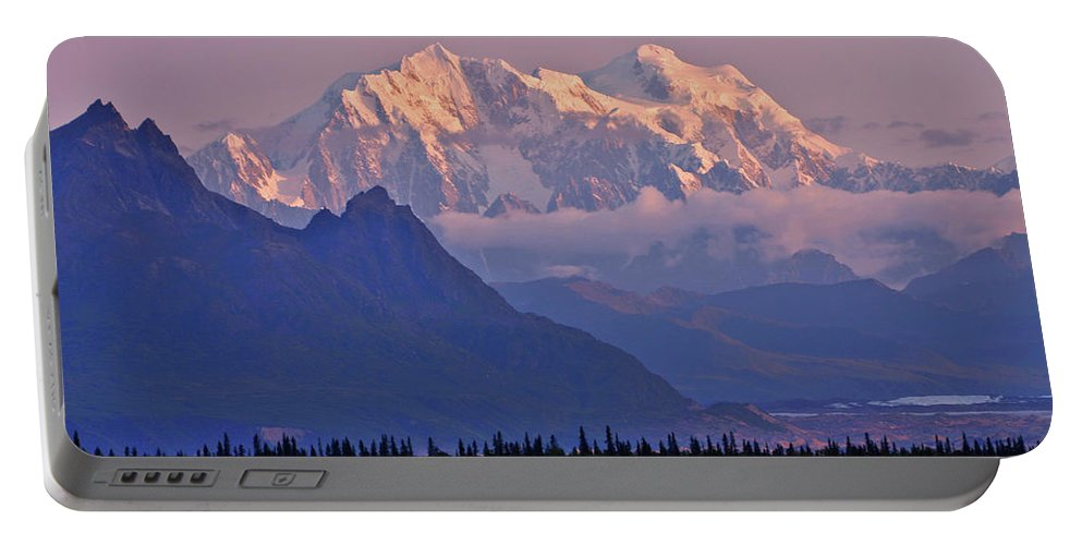 Denali Portable Battery Charger featuring the photograph Denali Glows by Scott Mahon