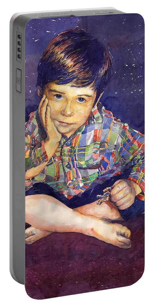 Watercolor Watercolour Portret Figurativ Realism People Commissioned Portable Battery Charger featuring the painting Denis 01 by Yuriy Shevchuk
