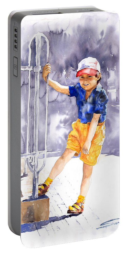 Watercolor Watercolour Figurativ Portret Portable Battery Charger featuring the painting Denis 02 by Yuriy Shevchuk