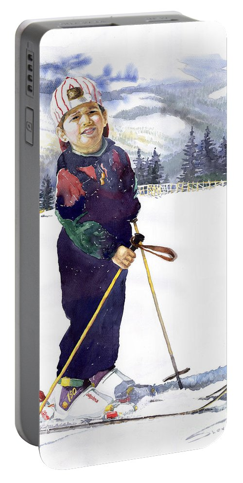 Watercolor Watercolour Figurative Ski Children Portret Realism Portable Battery Charger featuring the painting Denis 03 by Yuriy Shevchuk