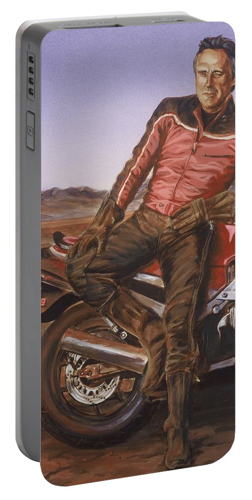 Dennis Hopper Portable Battery Charger featuring the painting Dennis Hopper by Bryan Bustard