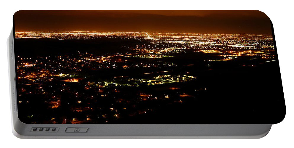 Clay Portable Battery Charger featuring the photograph Denver Area At Night From Lookout Mountain by Clayton Bruster
