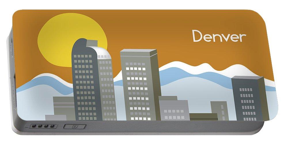 Denver Portable Battery Charger featuring the digital art Denver Colorado Horizontal Skyline Print by Karen Young