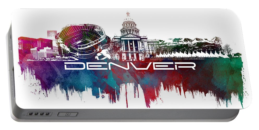 Denver Portable Battery Charger featuring the digital art Denver Skyline City Blue by Justyna JBJart