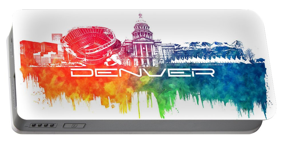 Denver Portable Battery Charger featuring the digital art Denver Skyline City Color by Justyna JBJart