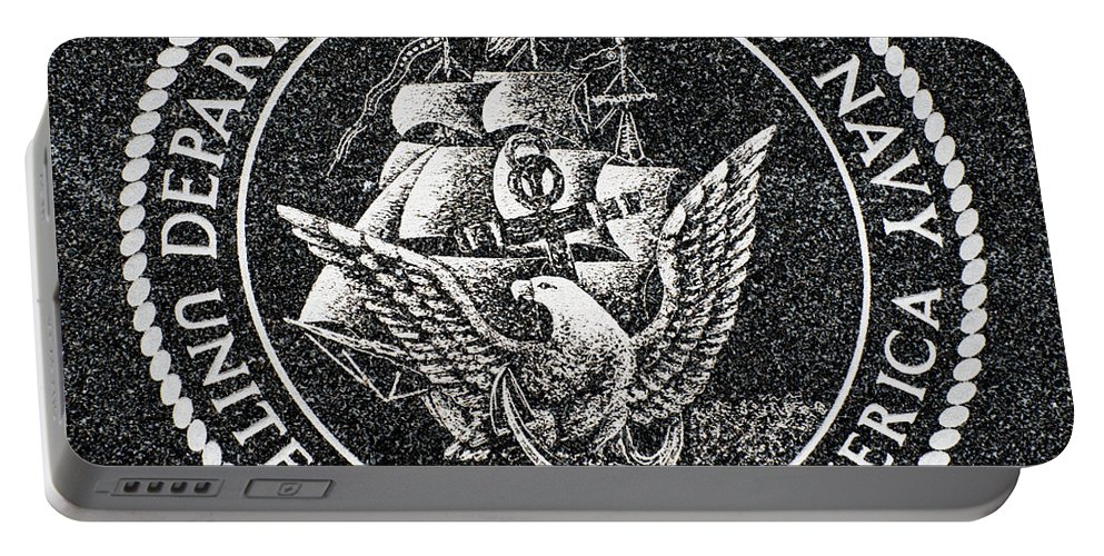 Department Portable Battery Charger featuring the photograph Department Of The Navy Emblem Polished Granite by Gary Whitton
