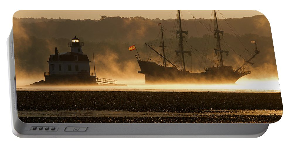 Mist Portable Battery Charger featuring the photograph Departure Of El Galeon II by Jeff Severson
