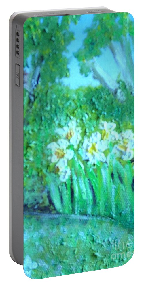 Daffodils Portable Battery Charger featuring the painting Dependable Daffodils by Laurie Morgan