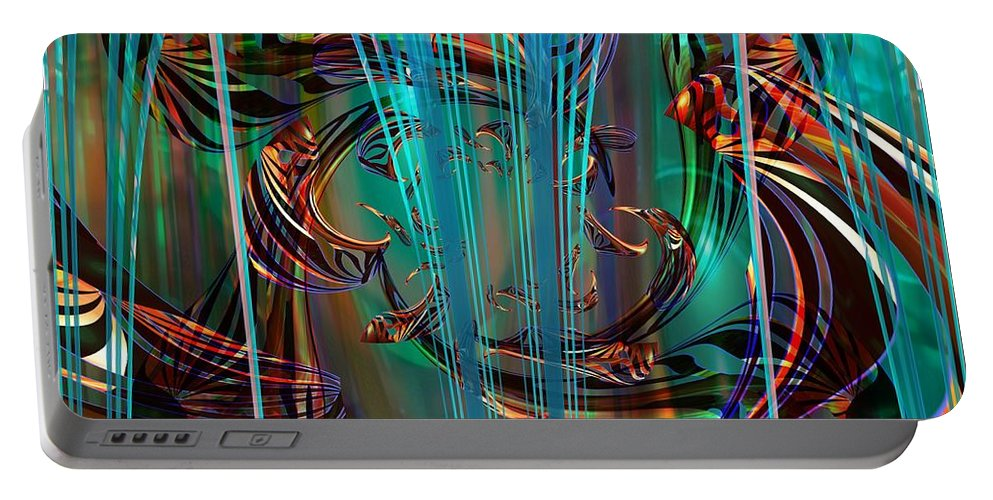 Digital Art Created And Rendered In Paint.net Portable Battery Charger featuring the digital art Depths by Elaine Bawden