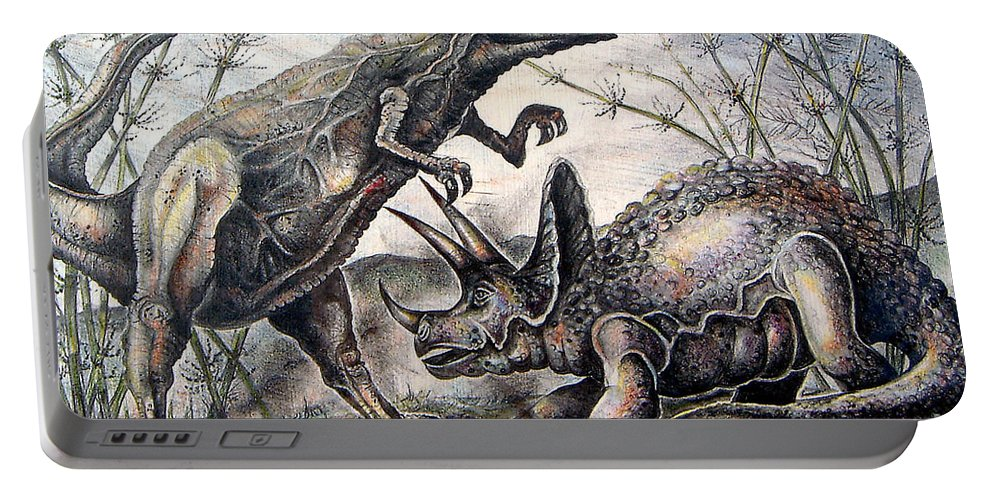 Dinasours Portable Battery Charger featuring the drawing Derek by Linda Shackelford