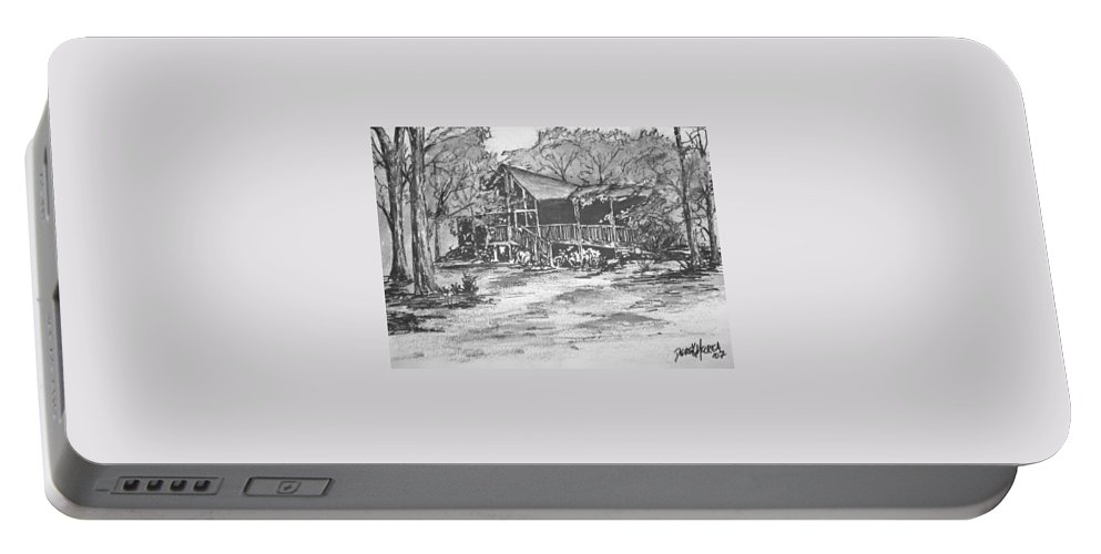 Barn Portable Battery Charger featuring the painting Derrick by Derek Mccrea