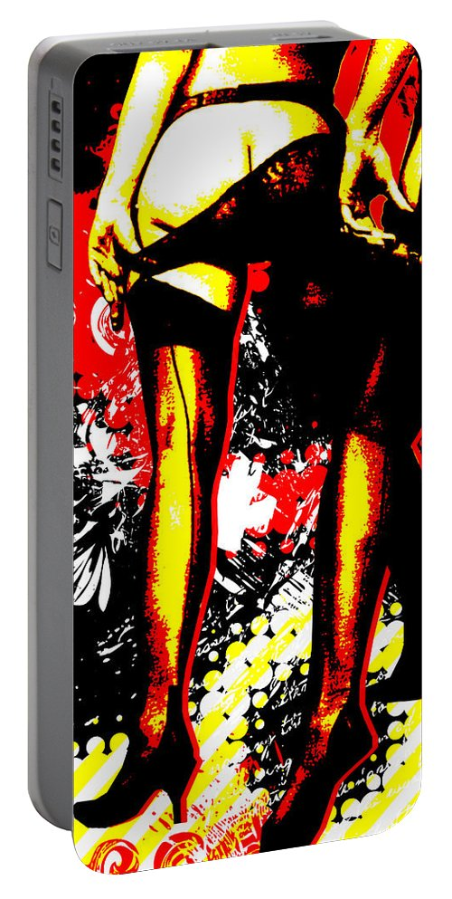 Nostalgic Seduction Portable Battery Charger featuring the digital art Derriere by Chris Andruskiewicz