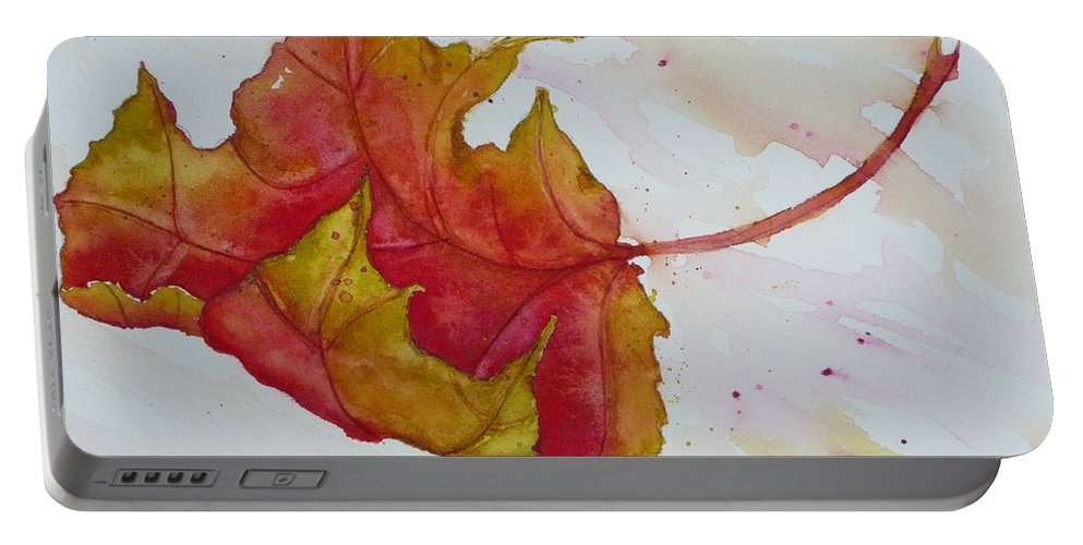 Fall Portable Battery Charger featuring the painting Descending by Ruth Kamenev