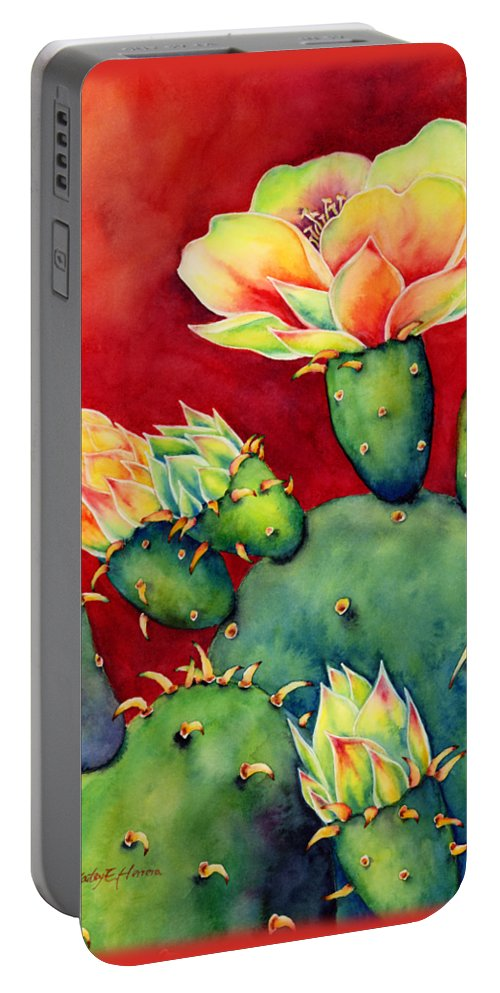 Cactus Portable Battery Charger featuring the painting Desert Bloom by Hailey E Herrera