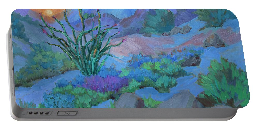 Desert Portable Battery Charger featuring the painting Desert Dawn by Diane McClary