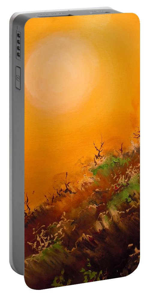 Desert Evening Portable Battery Charger featuring the painting Hot Desert Evening by Dan Whittemore