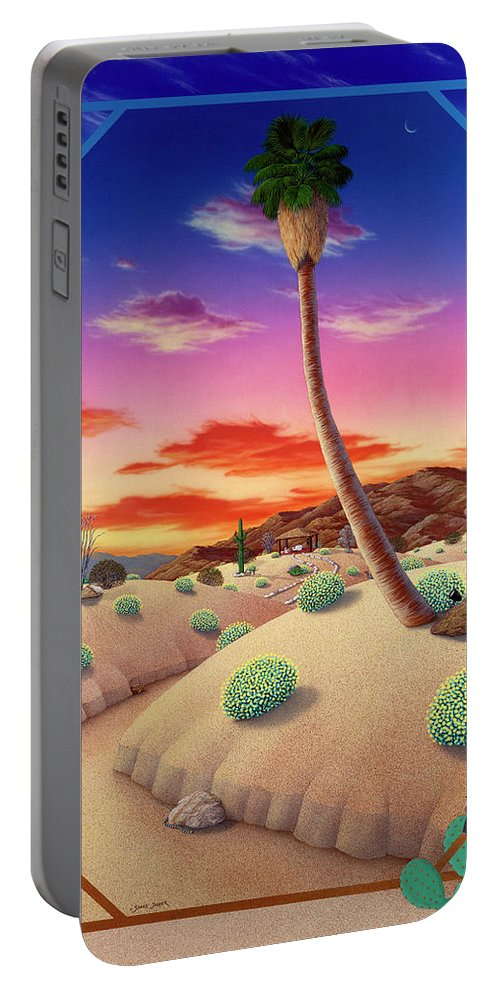 Landscape Portable Battery Charger featuring the painting Desert Gazebo by Snake Jagger